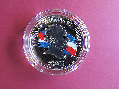 URUGUAY 2000 PESOS 2015 SILVER COIN- Bicentenary of the Lands Law UNC With Bonus
