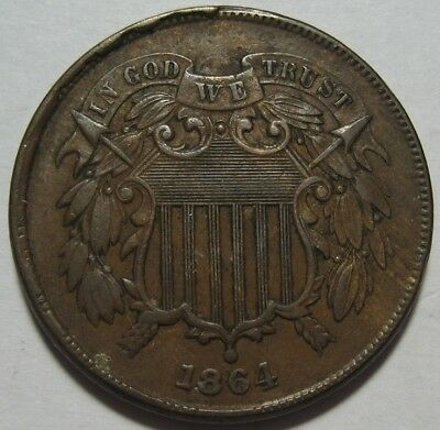 = 1864 XF/AU Two Cent Piece, Nice Details, FREE Shipping