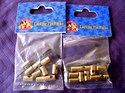 Disney * LOCKING PIN BACKS LOT * New w/ Tags 2 Sealed 10 Packs