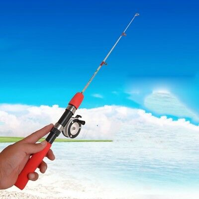 Red Solid Short Pole Ice Fishing Rod 60/80cm 1m Lightweight Telescopic Spinning