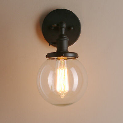 """Permo 5.9"""" Vintage Industrial Wall Lamp Sconce Globe Glass Shade Loft Wall Light"""
