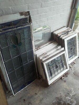 16 Original Vintage Leaded Stained Glass Windows from 1930s Property