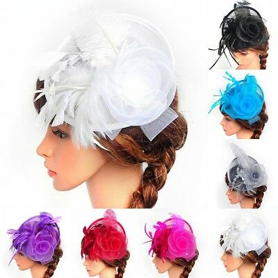 Elegent Women Fascinator Hat Feather Headband Cocktail Wedding Party Headpiece