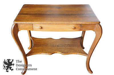 Antique Early 20th C. Quartersawn Tiger Oak Library Table Desk Arts & Crafts