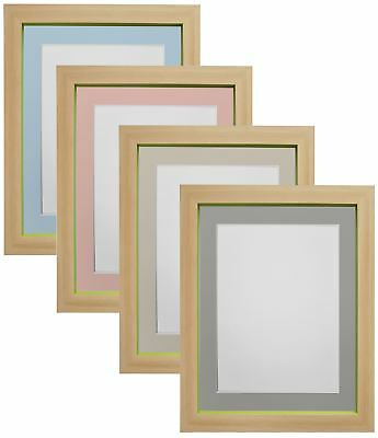 Magnus Beech with Green Photo Frames with Blue, Pink Light & Dark Grey Mount