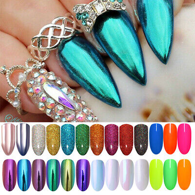 Nail Glitter Powder Holographic Mirror Neon Phosphor Mermaid Manicure