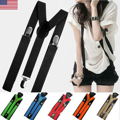 US STOCK Unisex Elastic Y-Shape Braces Mens Womens Adjustable Clip-on Suspenders