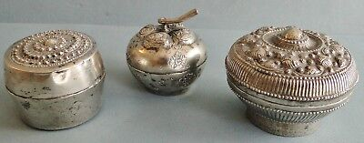 3 Antique 19Th Century Burmese  Indian Solid Silver Pumpkin Shape Betel Nut Boxs