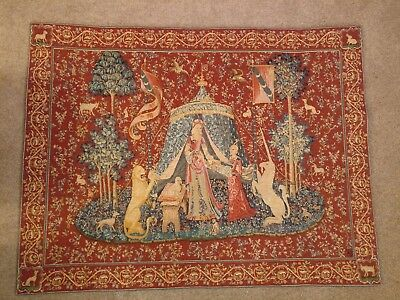 'Lady with the Unicorn' Medieval Tapestry Traditional Loom Woven Wool blend