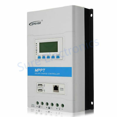 US EPEVER TRIRON4210N 40A MPPT Solar Charge Controller LCD Dual USB RS485
