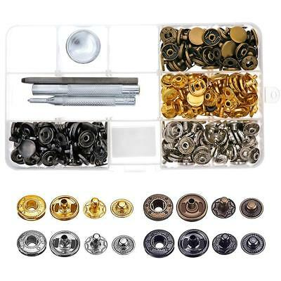 80Sets Leather Craft Snap Fasteners Snaps Button Press Studs Fixing Tools Metal