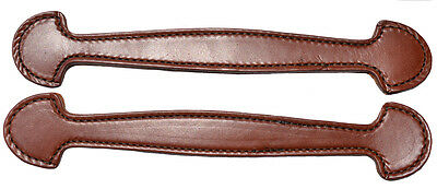 Set of 2 Brown double and stitched Leather Steamer trunk handles #102BRN