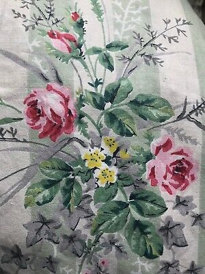 """Antique french Versailles Stripe Shabby Chic Rosebuds fabric curtain c1900s 74"""""""