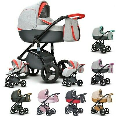 Baby Pram Pushchair MODO Eco-leather Travel System 3in1 4in1 Car Seat + Iso