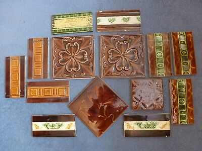 14 assorted tiles - probably Victorian - browns/greens