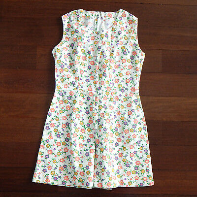Vintage Floral Romper Jumpsuit Ivory with Pink and Purple Flowers Zip Back sz S