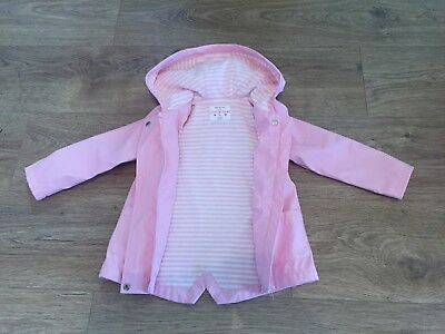 Girls baby pink jacket / raincoat with hood. Age 18-24 months