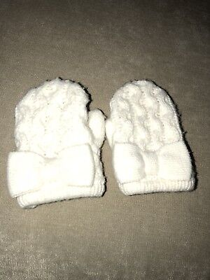 Janie And Jack Girl Ivory bow Knit Mittens Size 12-24