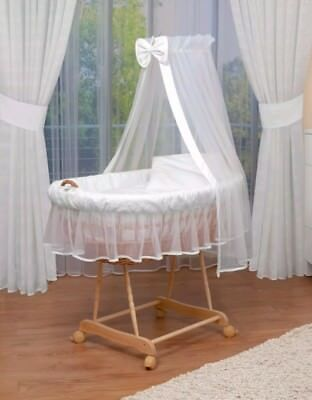 Waldin baby bassinet, crib Moses basket voile drapes canopy in white with bow