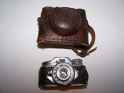 Mini QP  Camera with Leather case. Marked - Made in Japan on front of lens