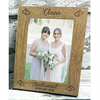 """Personalised Wedding Gift Bridesmaid / Maid of Honour Photo Frame 7x5"""" ENGRAVED"""