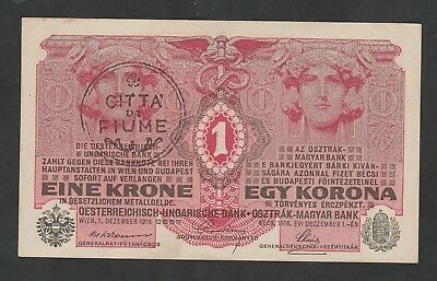 1 Krone From Austria Overprint Fiume Fake Stamp  Aunc