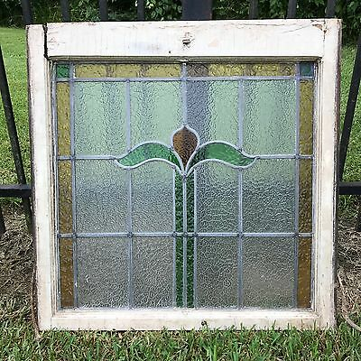 """Large Antique Stained Leaded Glass Window Original Wood Frame Architectural 30"""""""