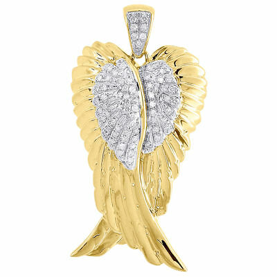 Mens 10k yellow gold angel pendant with 030 carats of diamonds diamond angel wings pendant mens 10k yellow gold round pave charm 030 ct aloadofball Choice Image
