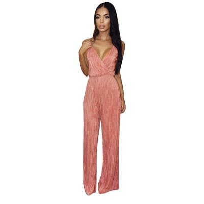 Women Jumpsuit Summer Fashion Sexy Sleeveless Deep V-Neck Evening Party Playsuit