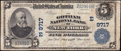 "Nice SCARCE 1902 $5 GOTHAM National Bank of NEW YORK, NY!! (The ""Batman"" Note)"