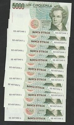 10 Pcs Of 5000 Lire From Italy Unc