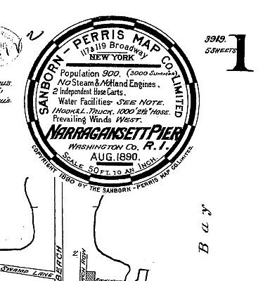 Narragansett Pier, Road Island~Sanborn Map© sheets 1890 with 5 maps on CD