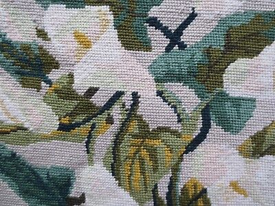 Beautiful  vintage fine  tapestry white lilies and greenery