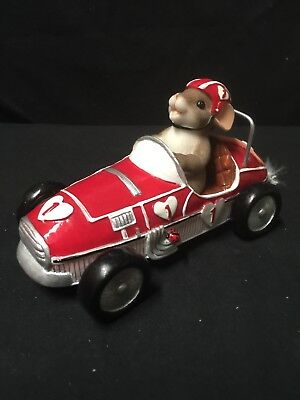 """Charming Tails """"You Make My Heart Race"""" Fitz and Floyd 84/145 mouse in race car"""