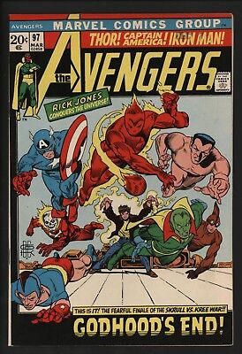 Avengers #97 End Of Kree/skrull War! Vf/nm 9.0 Glossy Cents White Pages!