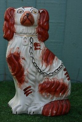 MID 19thC STAFFORDSHIRE RUSSET RED & WHITE SPANIEL DOG WITH EMBOSSED no3  c1850s