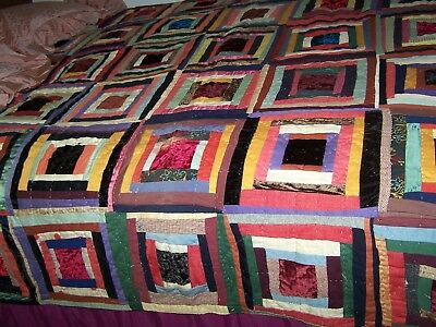"Antique Vintage Handmade LOG CABIN QUILT 60"" x 70"" 1800's -- AS IS"