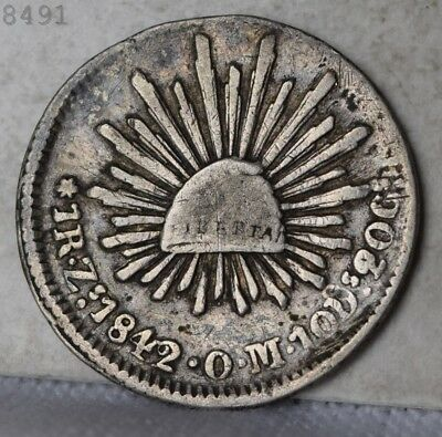 1842-Zs OM *Silver* Mexico One Real *Free S/H After 1st Item*