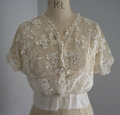 Antique French crochet lace chemise/blouse - raised flowers