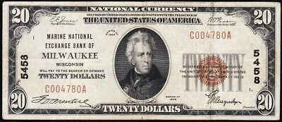 Nice 1929 $20 MILWAUKEE, WI National Banknote! FREE SHIPPING! C004780A