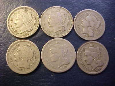 1865 1866 1867 1868 1869 1872 Three Cent Nickels 6 Coin Lot Nice Grades