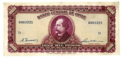 Chile  ... P-118 ... 10,000 Pesos ... ND(1942-59) ... *F-VF* Serie D/Low Serial