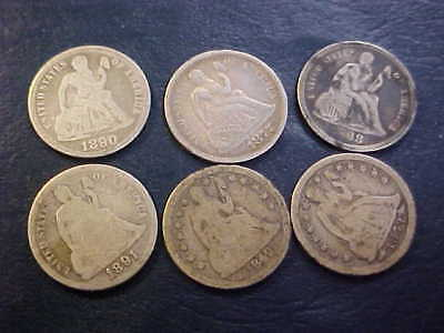1849 1877 1853 1868 1890 1891 Seated Liberty Dime  6 Coin Lot Nice Grades