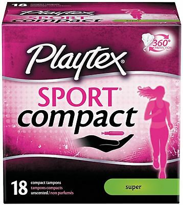 Playtex Sport Compact Tampons with Flex-Fit Technology 18 ea 2pk