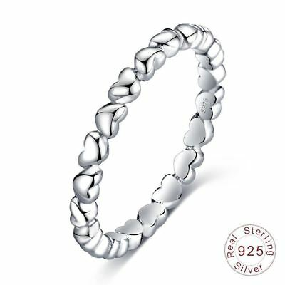 BEAUTIFUL REAL 925 100% Solid Sterling Silver Forever Love THIN STACKABLE RING