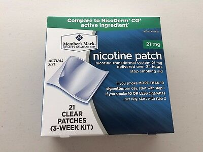 Member's Mark Nicotine Transdermal System Step 1 Clear Patches 21 Patches 3/2019