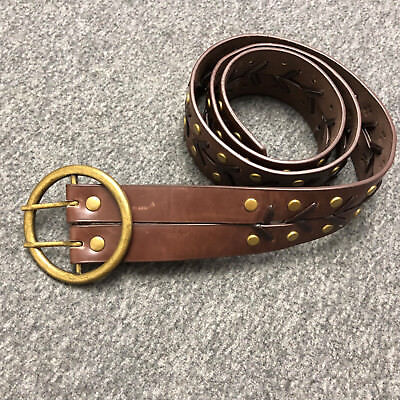 Vintage Hand Made Leather Two Pins Braided Brass Buckle Belt With Rivets