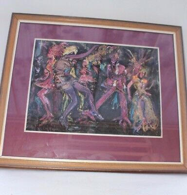 Mixed media canvas art Painting Sig LV Nowell 1977 VTG Psychedellic Mardi Gras