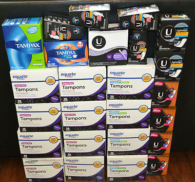 Bulk #01 Clearance Wholesale Lot of Tampax Equate U Kotex Super Tampons 25 Boxes