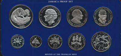 JAMAICA - 1982 9pc cased PROOF set - 1c-$10 - mintage = 1040 sets